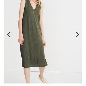 Madewell V-neck jersey tank dress in forest green